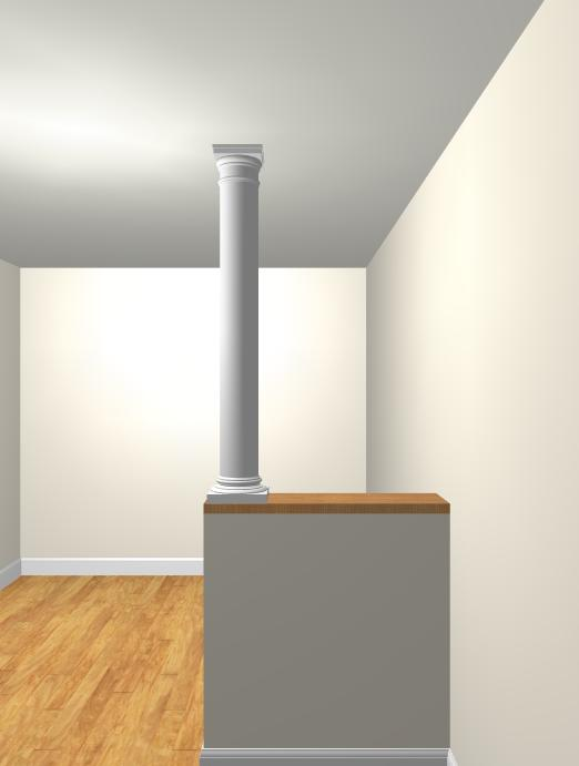 half wall with column