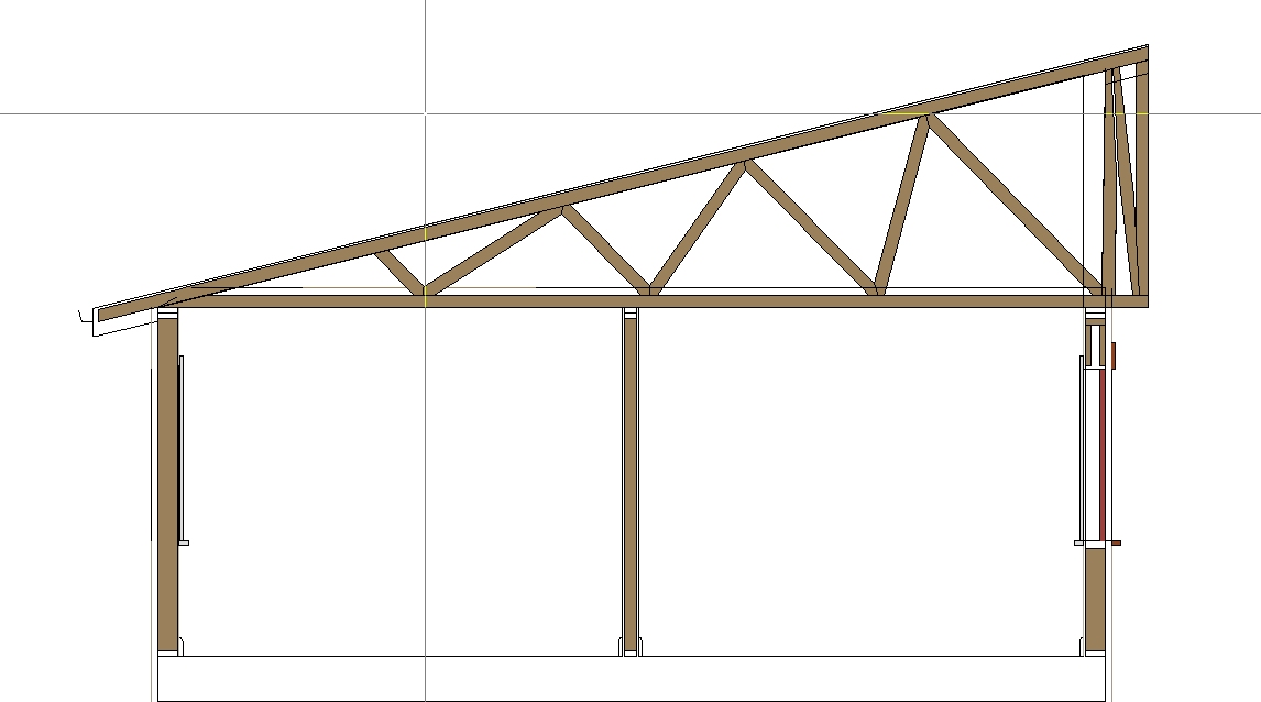 Mono truss for shed roof builds past wall