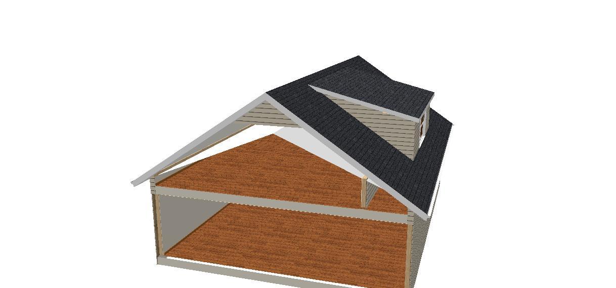 dormer through a scissor truss roof